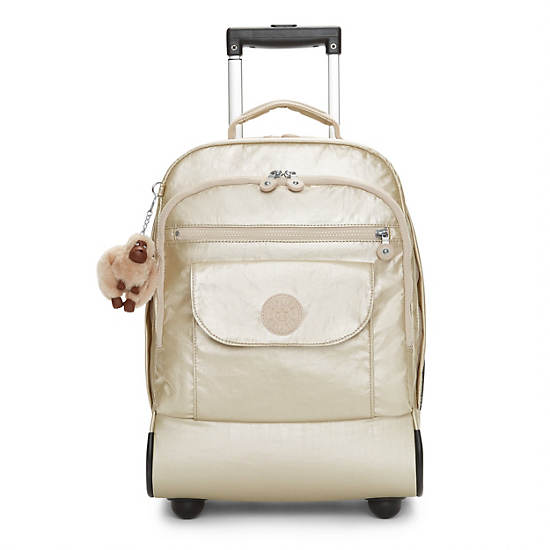 Sanaa Metallic Rolling Backpack,Sparkly Gold,large