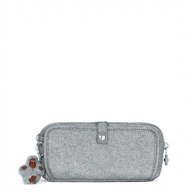 Wolfe Metallic Roll-Up Pencil Pouch - Silver Glimmer Metallic