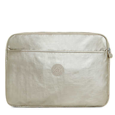"15"" Metallic Laptop Sleeve - Silver Beige"
