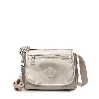키플링 Kipling SabianCrossbody Metallic Mini Bag,Cloud Grey Metallic