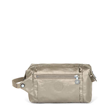 Aiden Metallic Toiletry Bag - Metallic Pewter
