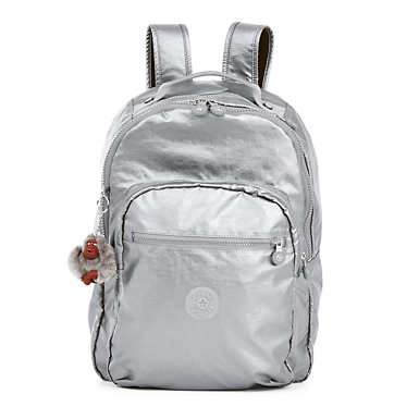 Seoul Large Metallic Laptop Backpack - Platinum Metallic