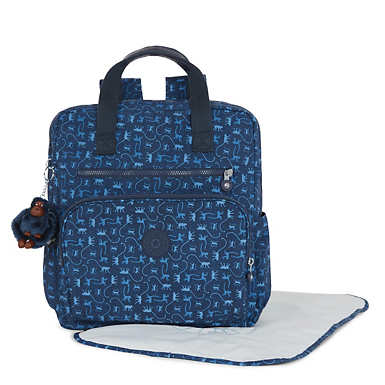 Audrie Printed Backpack Diaper Bag - Monkey Mania Blue