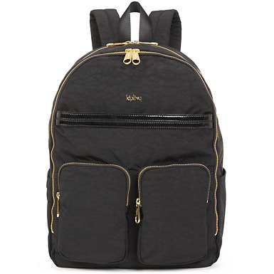 """키플링 Kipling Tina Large 15"""" Laptop Backpack,Black Patent Combo"""