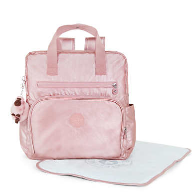 Audrie Metallic Diaper Bag - Icy Rose Metallic