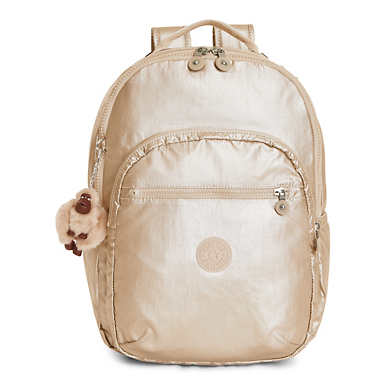Seoul Large Metallic Laptop Backpack - Sparkly Gold