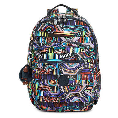Seoul Large Printed Laptop Backpack - Graffiti Waves