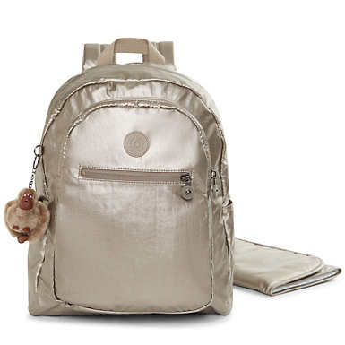 Bizzy Boo Metallic Backpack Diaper Bag - Metallic Pewter