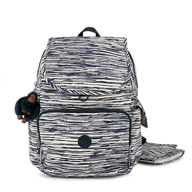 키플링 Kipling ZaxPrinted Backpack Diaper Bag,Scribble Lines Blue