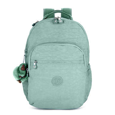 키플링 Kipling Seoul GoLarge 15 Laptop Backpack,Fern Green Tonal Zipper
