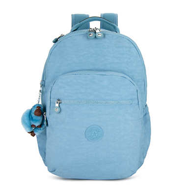 키플링 Kipling Seoul GoLarge 15 Laptop Backpack,Blue Beam Tonal Zipper