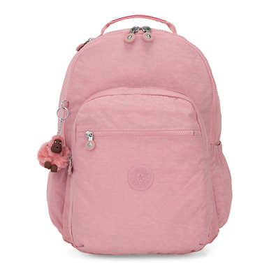 키플링 Kipling Seoul GoLarge 15 Laptop Backpack,Strawberry Pink Tonal Zipper