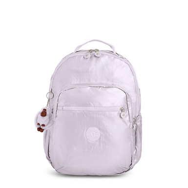 """키플링 Kipling Seoul Go Large Metallic 15"""" Laptop Backpack,Frosted Lilac Metallic"""