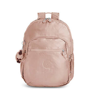 키플링 Kipling Seoul GoLarge Metallic 15 Laptop Backpack,Rose Gold Metallic