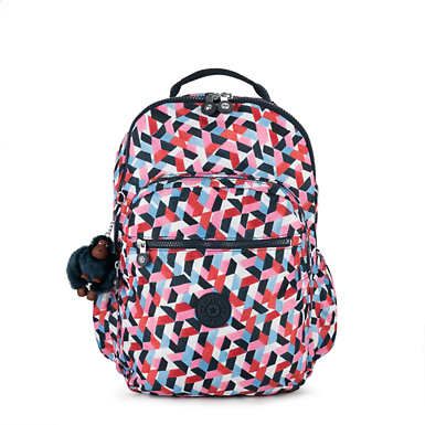 키플링 Kipling Seoul GoLarge Printed Laptop 15 Backpack,Forever Tiles
