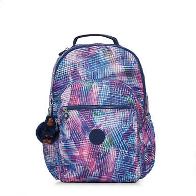 키플링 Kipling Seoul GoLarge Printed Laptop 15 Backpack,Radiant Splash