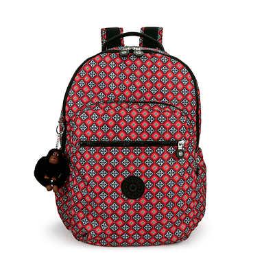 """키플링 Kipling Seoul Go Large Printed Laptop 15"""" Backpack,Mystical Medallion Orange"""