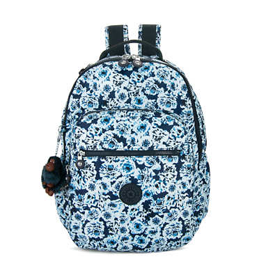 키플링 Kipling Seoul GoLarge Printed Laptop 15 Backpack,Roaming Roses