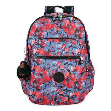 """키플링 Kipling Seoul Go Large Printed Laptop 15"""" Backpack,Festive Floral"""