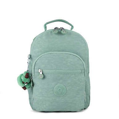 키플링 Kipling Seoul GoSmall Backpack,Fern Green Tonal Zipper