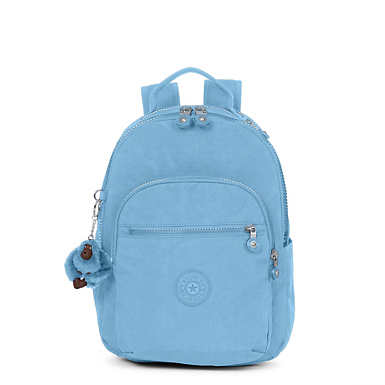 키플링 Kipling Seoul GoSmall Backpack,Blue Beam Tonal Zipper