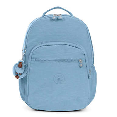 키플링 Kipling Seoul GoExtra Large Laptop Backpack,Blue Beam Tonal Zipper