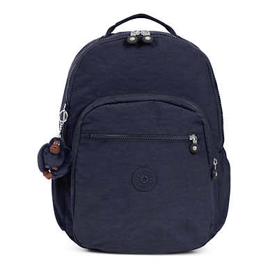 키플링 Kipling Seoul GoExtra Large Laptop Backpack,True Blue Tonal Zipper