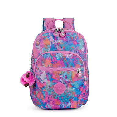 키플링 Kipling Seoul GoSmall Printed Backpack,Fierce Prisms