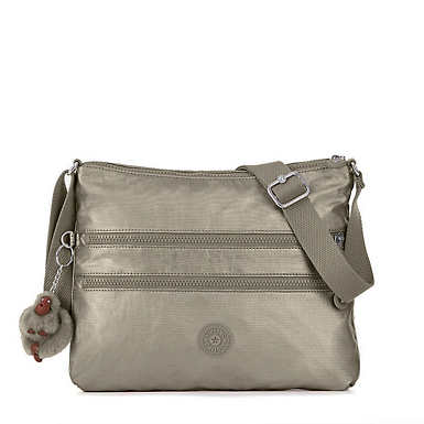 Alvar Metallic Crossbody Bag - Metallic Pewter