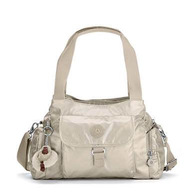 키플링 Kipling Felix Large Metallic Handbag,Gleaming Gold