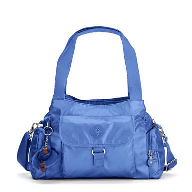 Felix Large Metallic Handbag - Scuba Diver Blue Metallic