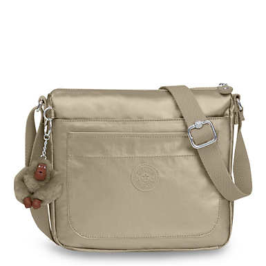 Sebastian Metallic Crossbody Bag - Metallic Pewter