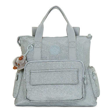Alvy 2-in-1 Convertible Metallic Tote Bag Backpack - Silver Glimmer Metallic