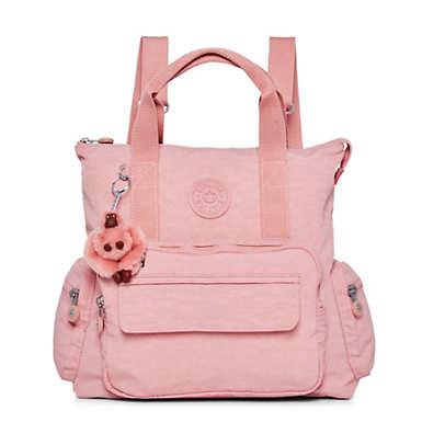 키플링 Kipling Alvy 2-In-1 Convertible Tote Bag Backpack,Strawberry Pink Tonal Zipper