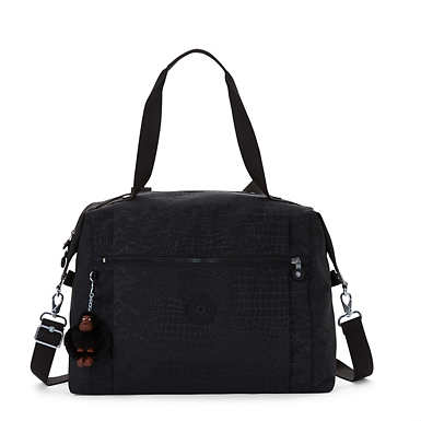 Ferra Printed Weekender Duffel Bag - Black Croc