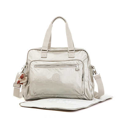 Alanna Metallic Diaper Bag - Cloud Grey Metallic