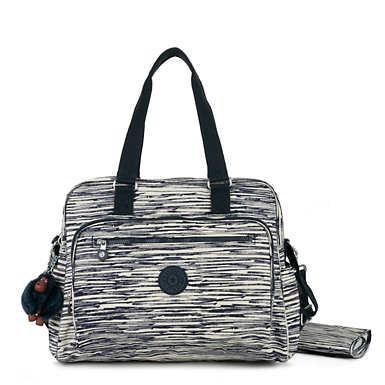 키플링 Kipling AlannaPrinted Diaper Bag,Scribble Lines Blue