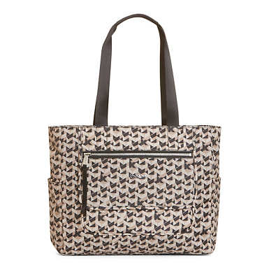 Noor Printed Laptop Tote - Optic Beige Multi