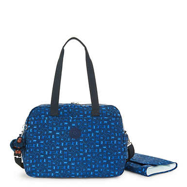 Popper Printed Diaper Bag - Monkey Mania Blue