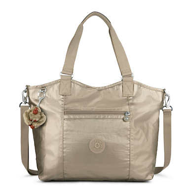 키플링 Kipling GriffinMetallic Tote Bag,Metallic Pewter