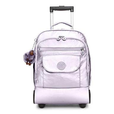 키플링 Kipling SanaaMetallic Rolling Backpack,Frosted Lilac Metallic