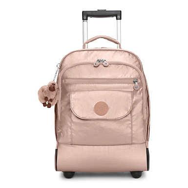 키플링 Kipling SanaaMetallic Rolling Backpack,Rose Gold Metallic