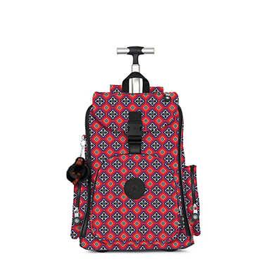키플링 백팩 Kipling Alcatraz IIPrinted Rolling Laptop Backpack,Mystical Medallion Orange