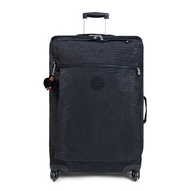 Darcey Large Printed Rolling Luggage - Black Croc