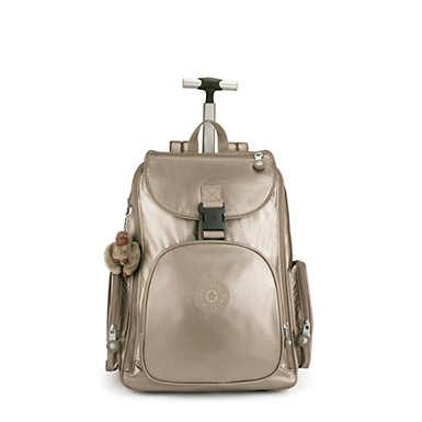 키플링 Kipling Alcatraz IIMetallic Large Rolling Laptop Backpack,Metallic Pewter