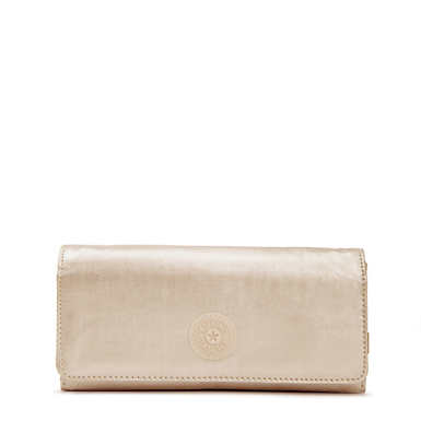 New Teddi Metallic Snap Wallet - Sparkly Gold