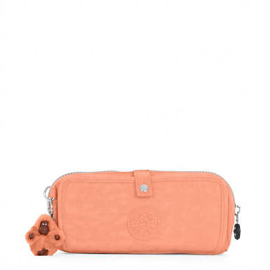 Wolfe Roll-Up Pencil-Makeup Pouch - Peachy Pink