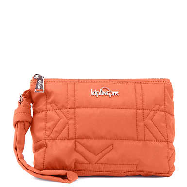Lonnie Quilted Wristlet - Citrus Orange