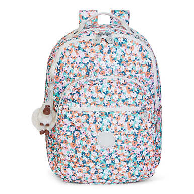 Seoul Large Printed Laptop Backpack - Meadow Flower Pink