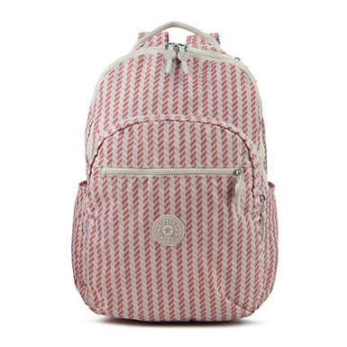 Seoul Large Printed Laptop Backpack - Zest Pink